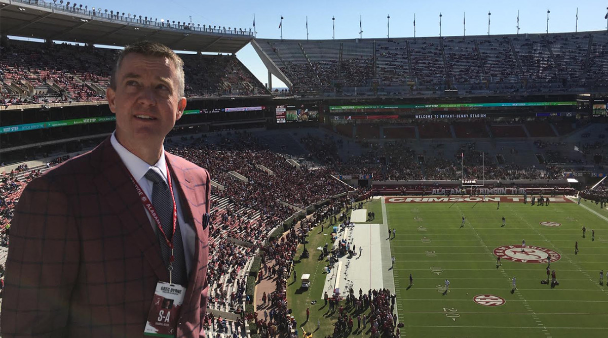 Before Alabama's game against LSU, Tide AD Greg Byrne visits the upper reaches of Bryant-Denny Stadium. It's a custom he began years ago as athletic director at Mississippi State.