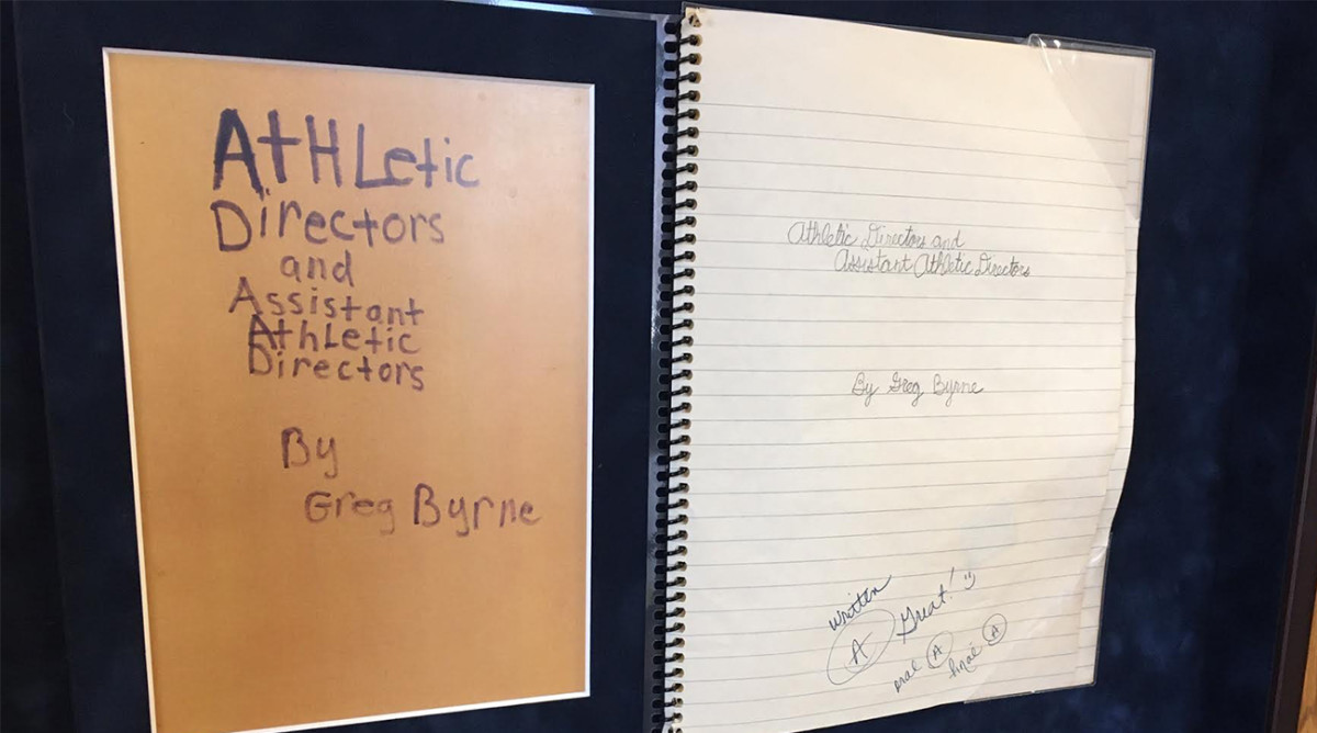 """Hanging in Greg Byrne's office at Alabama is a research paper he wrote as a fourth-grader. It is titled """"athletic directors and assistant athletic directors."""""""