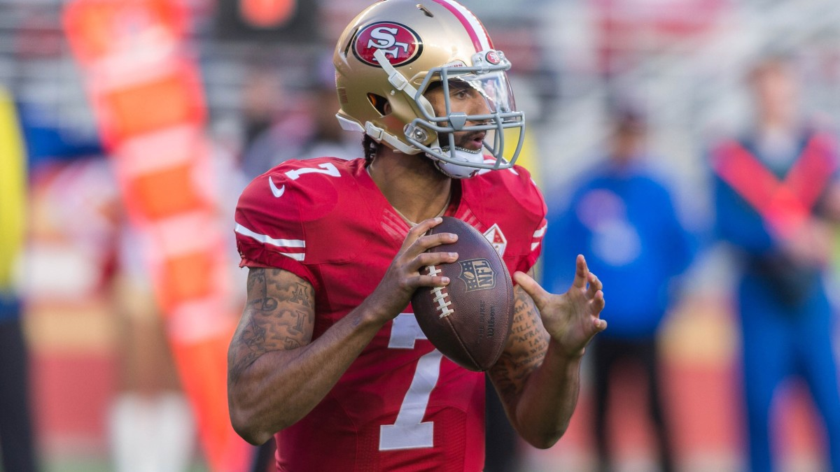 Colin Kaepernick looks down field during the second quarter against the Seattle Seahawks at Levis Stadium in 2017.