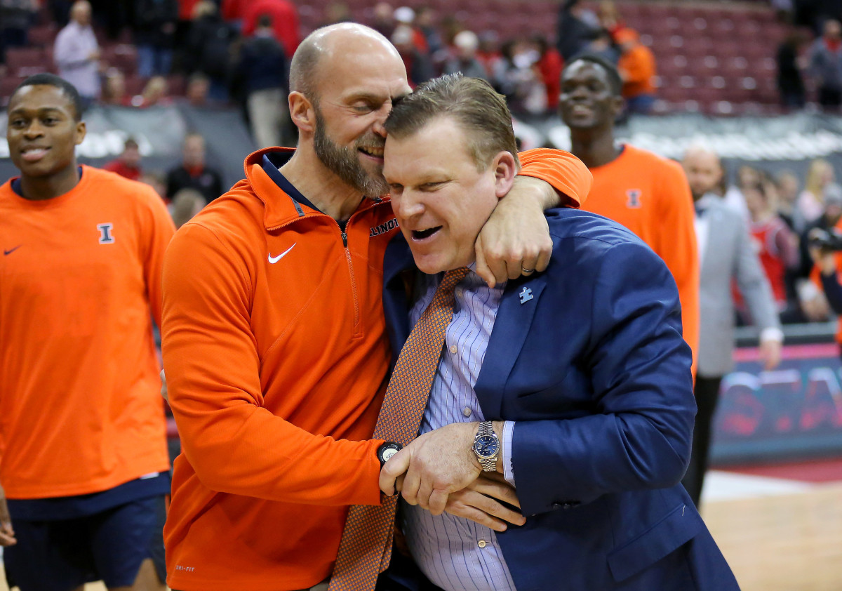 Illinois head coach Brad Underwood (right) gets a hug from Athletic Director Josh Whitman after the win against Ohio State at Value City Arena.