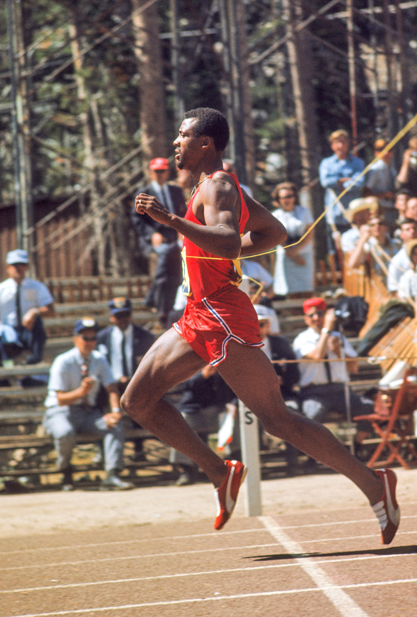 At the Summit oval outside Tahoe, Carlos (winning the 200) and others tried out Puma's No. 296 shoe to record-breaking results. (Jerry Cooke)