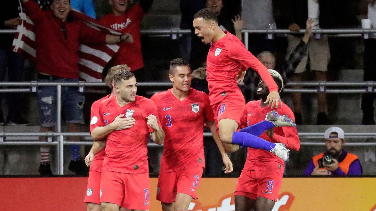 Jordan Morris celebrates scoring against Canada.
