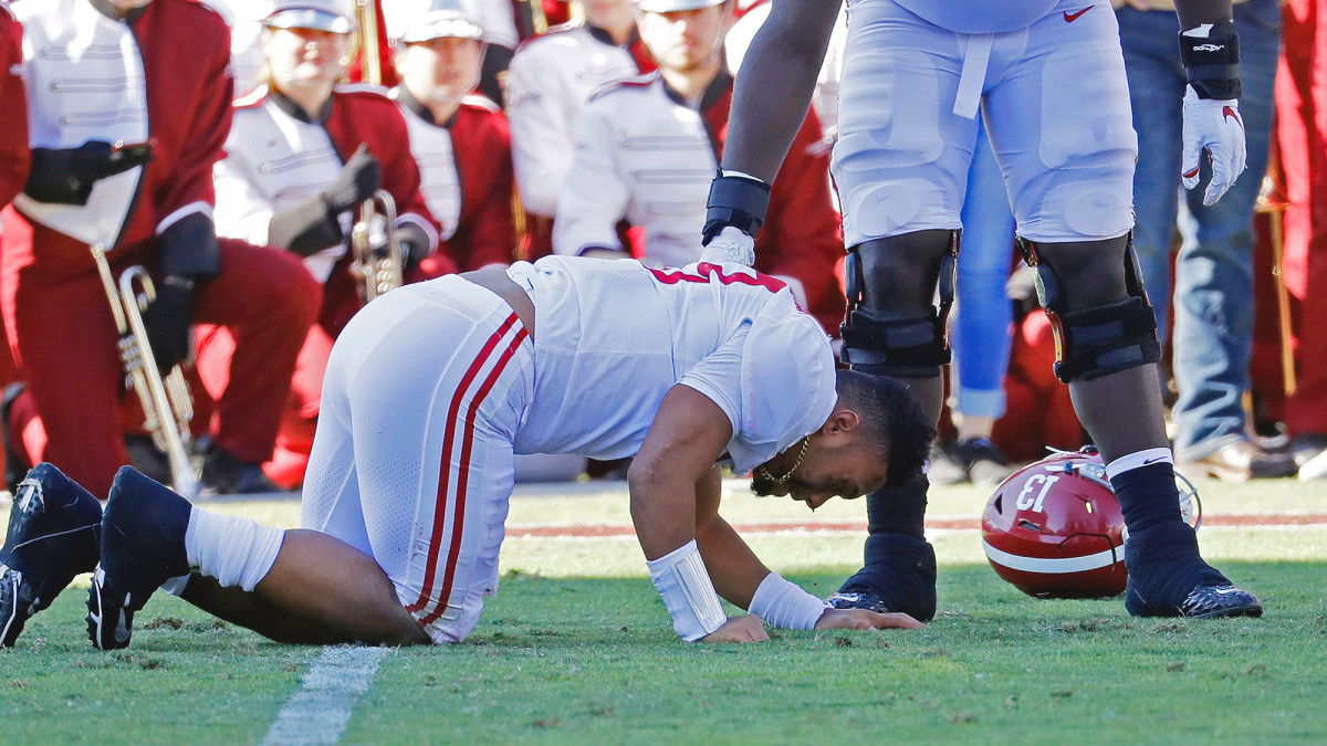 Tagovailoa threw for 293 yards against Mississippi State before suffering a devastating season-ending hip injury just before halftime.