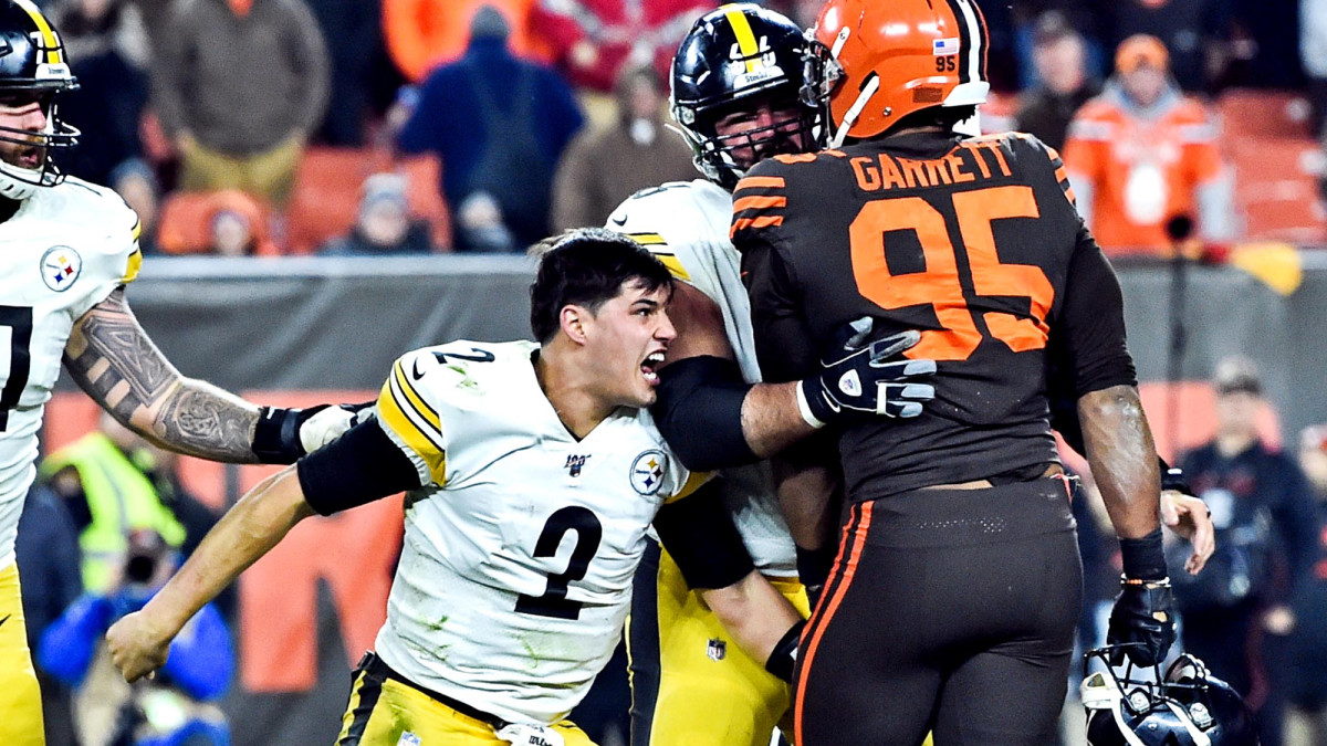 Mason Rudolph at the center of the Browns, Steelers brawl at the end of Week 11's Thursday Night Football contest.