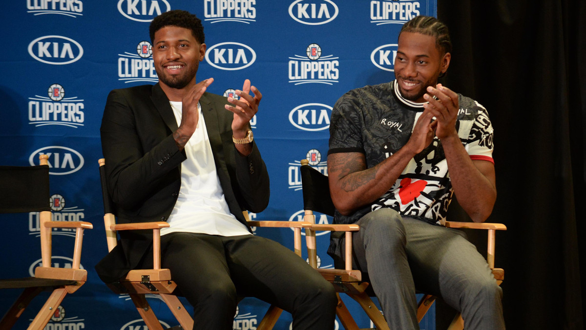 Paul George and Kawhi Leonard introduced as Clippers for the first time.