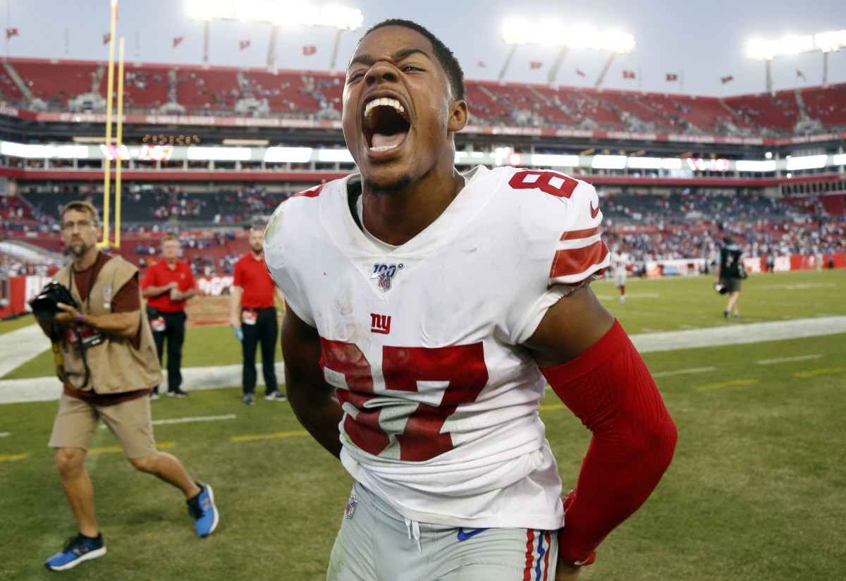 Sep 22, 2019; Tampa, FL, USA; New York Giants wide receiver Sterling Shepard (87) celebrates after defeating the Tampa Bay Buccaneers at Raymond James Stadium.