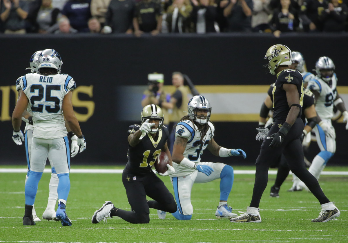 Nov 24, 2019; New Orleans, LA, USA; New Orleans Saints wide receiver Michael Thomas (13) reacts after a first down catch during the fourth quarter against the Carolina Panthers at the Mercedes-Benz Superdome. Mandatory Credit: Derick E. Hingle-USA TODAY Sports