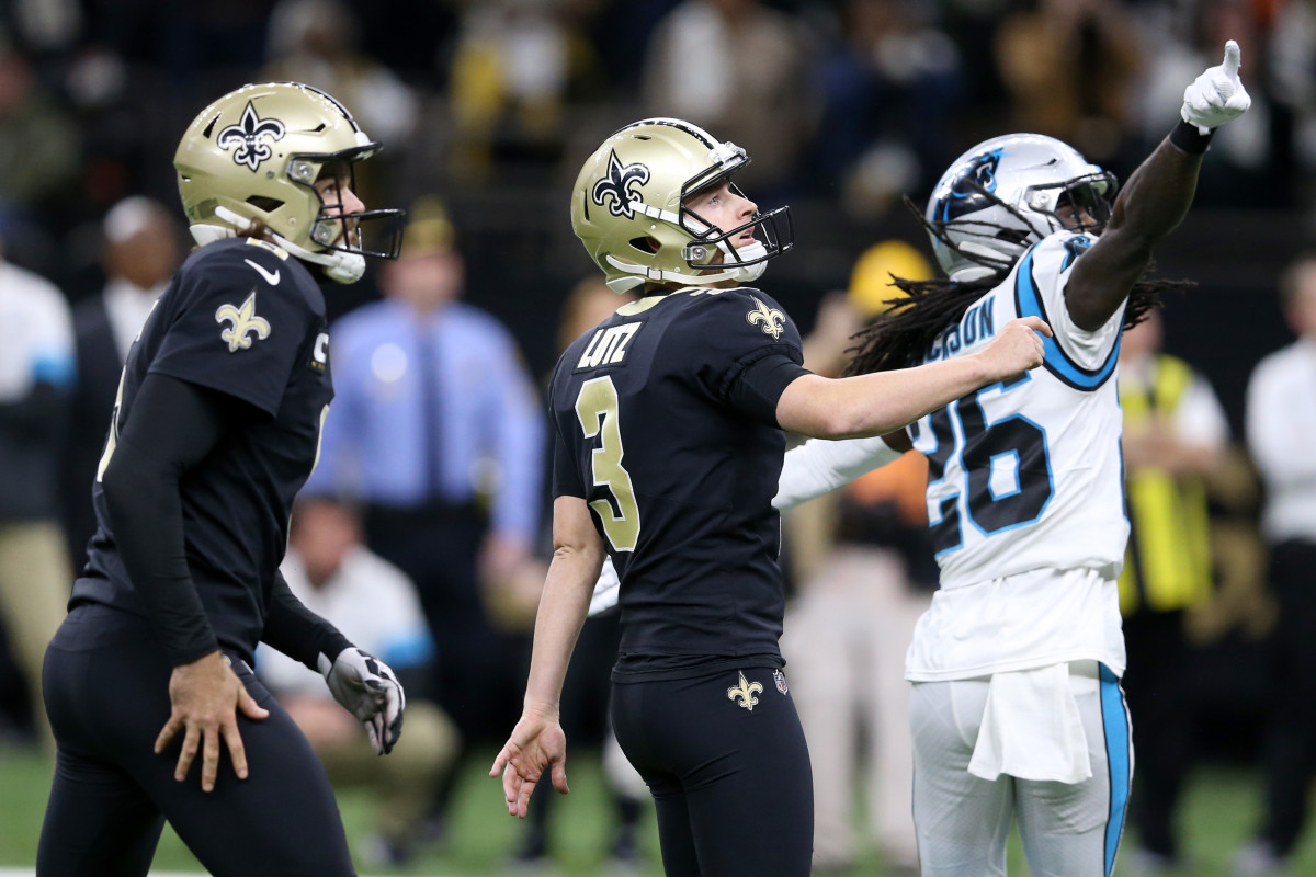 New Orleans Saints kicker Wil Lutz, watches his game-winning field goal with New Orleans Saints holder Thomas Morstead at the Mercedes-Benz Superdome. The Saints won, 34-31. Mandatory Credit: Chuck Cook-USA TODAY Sports