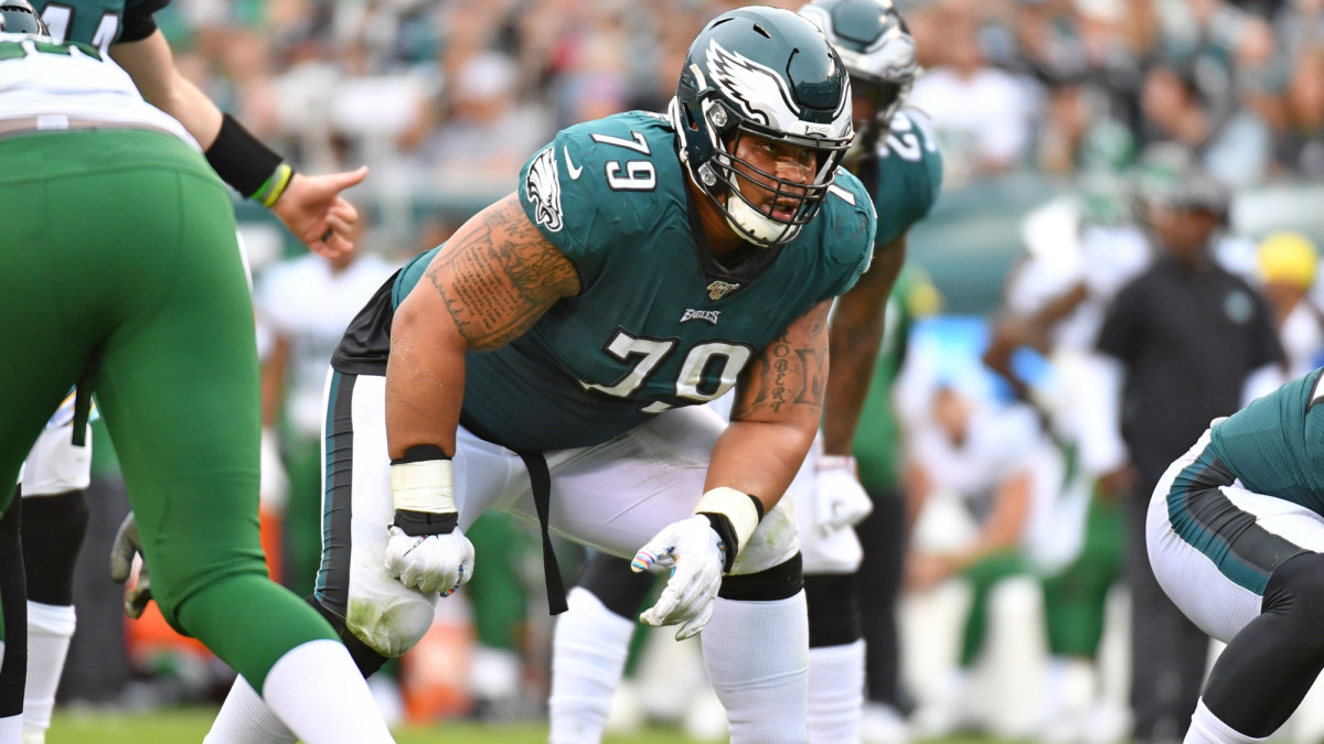 Eagles offensive guard Brandon Brooks in a game against the New York Jets.