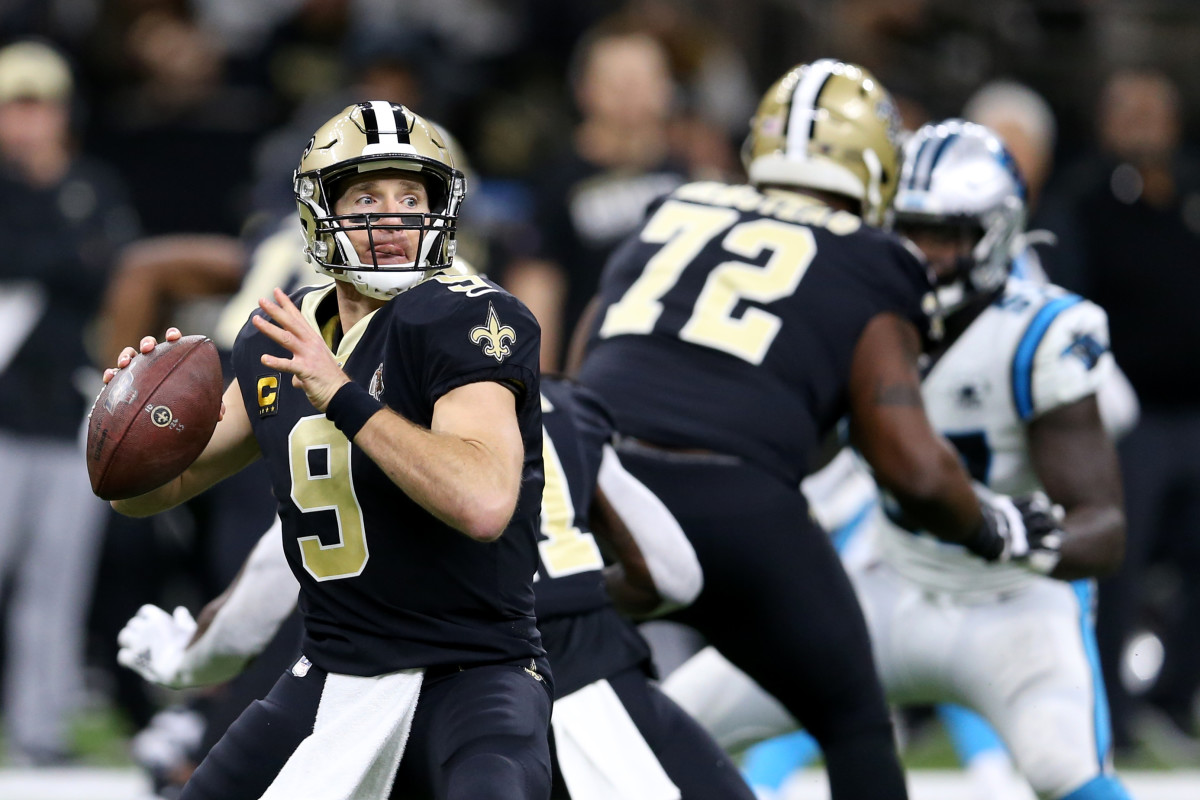 Nov 24, 2019; New Orleans, LA, USA; New Orleans Saints quarterback Drew Brees (9) looks to throw in the first quarter against the Carolina Panthers at the Mercedes-Benz Superdome. Mandatory Credit: Chuck Cook-USA TODAY Sports