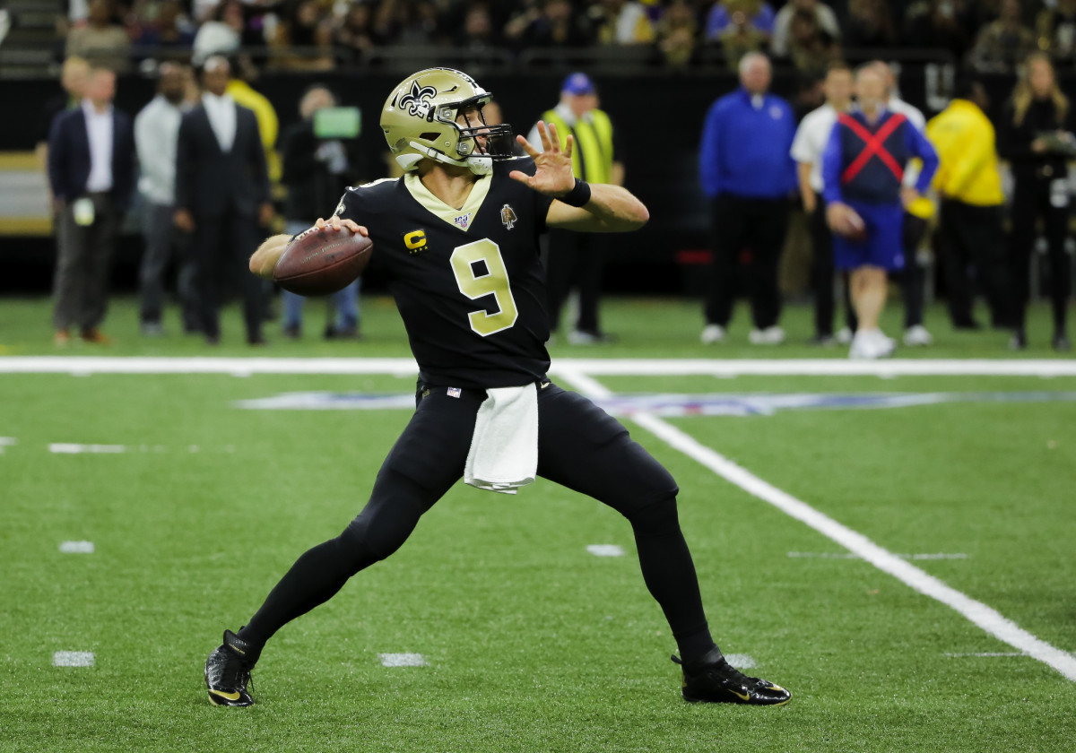 Nov 24, 2019; New Orleans, LA, USA; New Orleans Saints quarterback Drew Brees (9) throws against the Carolina Panthers during the first half at the Mercedes-Benz Superdome. Mandatory Credit: Derick E. Hingle-USA TODAY Sports