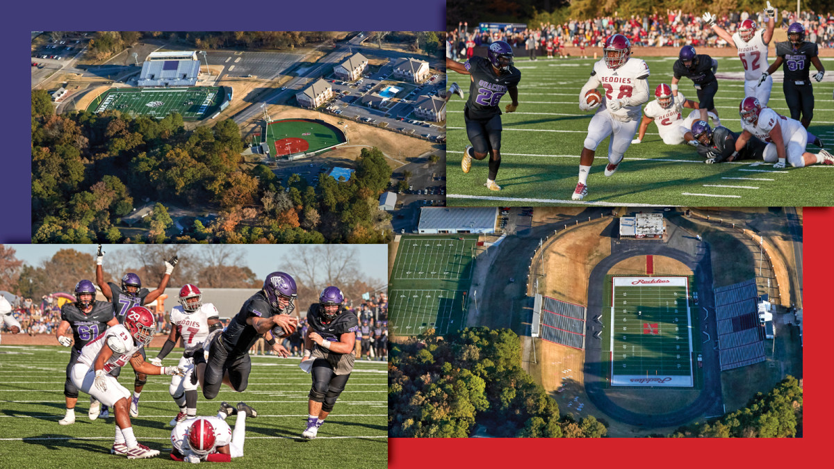Ouachita (in black) and Henderson State (white) met on Nov. 16. Their stadiums are within eyeshot of one another.