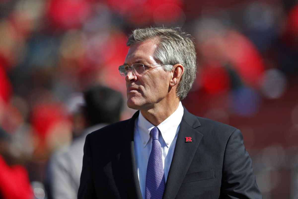 Rutgers Scarlet Knights athletic director Patrick E. Hobbs watches game against the Maryland Terrapins during the first half at SHi Stadium.