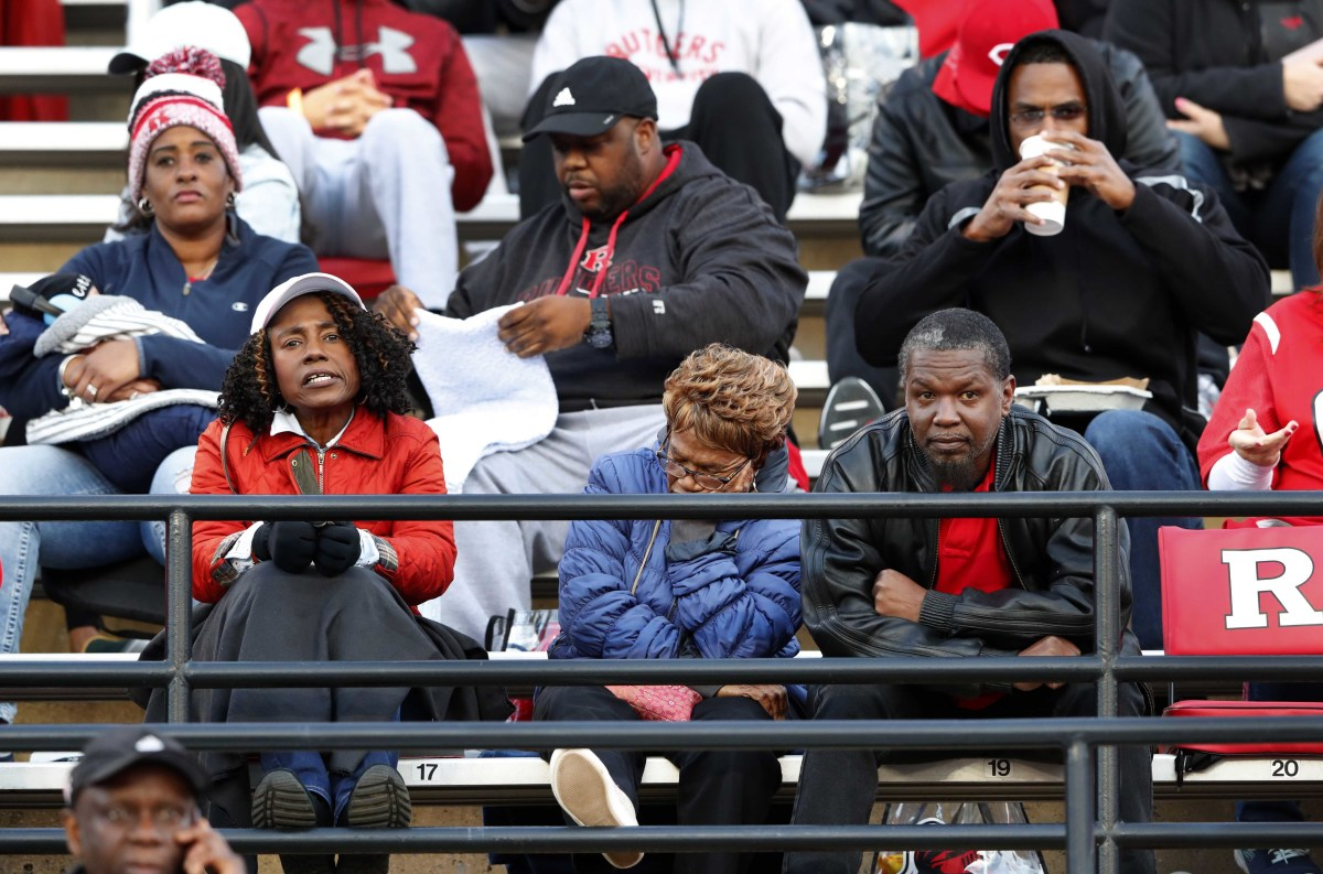 Rutgers Scarlet Knights fans in the stand during the second half of football game against the Minnesota Golden Gophers at SHI Stadium.