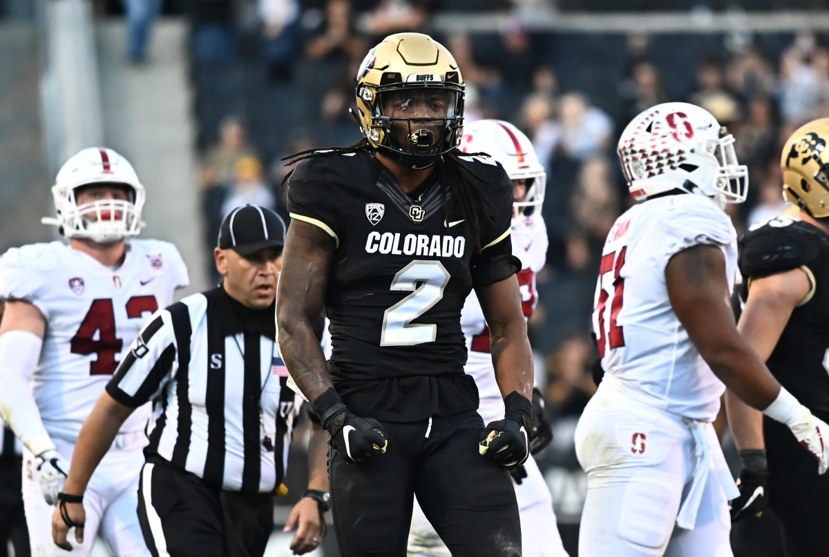 Nov 9, 2019; Boulder, CO, USA; Colorado Buffaloes wide receiver Laviska Shenault Jr. (2) celebrates after his successful fourth down carry against the Stanford Cardinal during the fourth quarter at Folsom Field. Mandatory Credit: Ron Chenoy-USA TODAY Sports