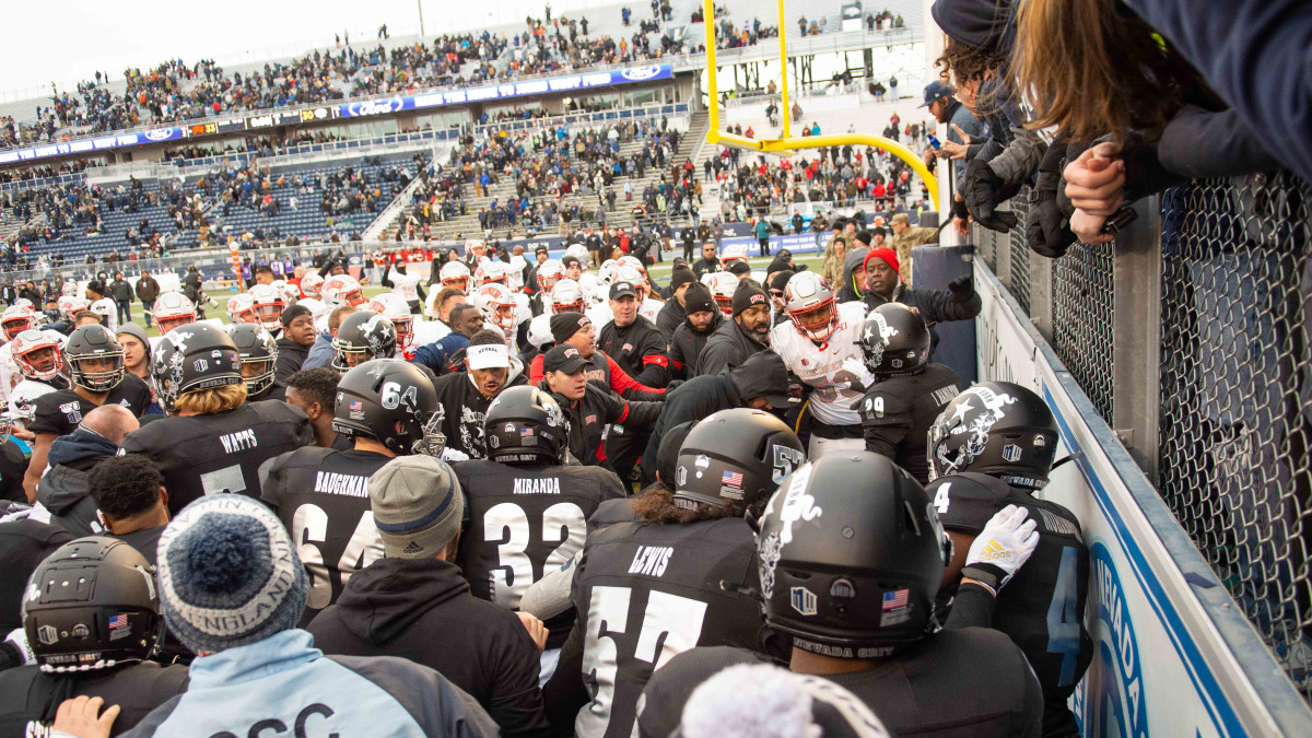 A brawl broke out after UNLV upset Nevada.