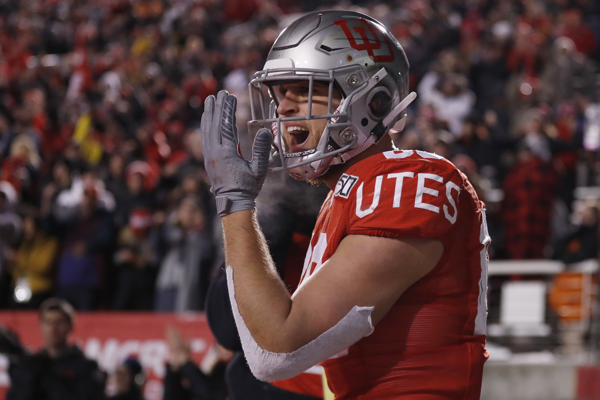 Nov 30, 2019; Salt Lake City, UT, USA; Utah Utes tight end Brant Kuithe (80) reacts after his fourth quarter touchdown against the Colorado Buffaloes at Rice-Eccles Stadium.