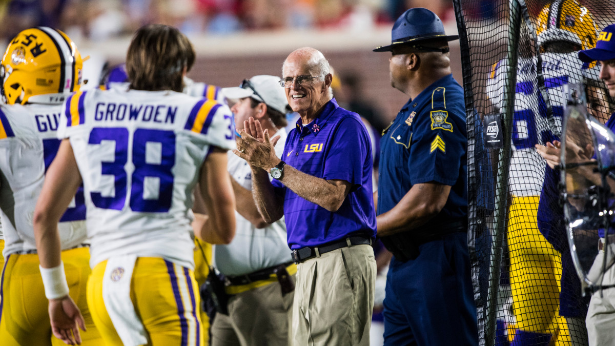Sam Nader is in his 45th year as a member of LSU's football staff. During games, he watches from the sideline.