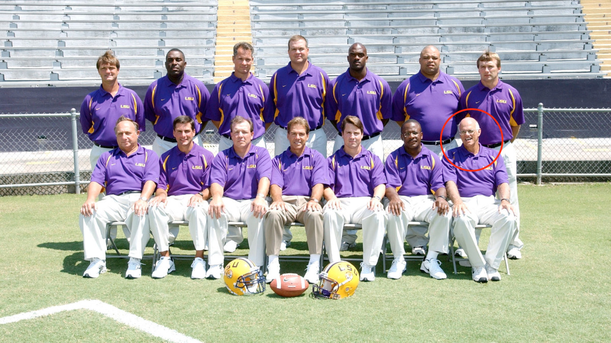 This LSU staff photo from the early 2000s is a who's who. In the front row is Derek Dooley, Jimbo Fisher, Nick Saban and Will Muschamp. On the back row, to the far right, is Kirby Smart, and in front of Smart is Sam Nader.