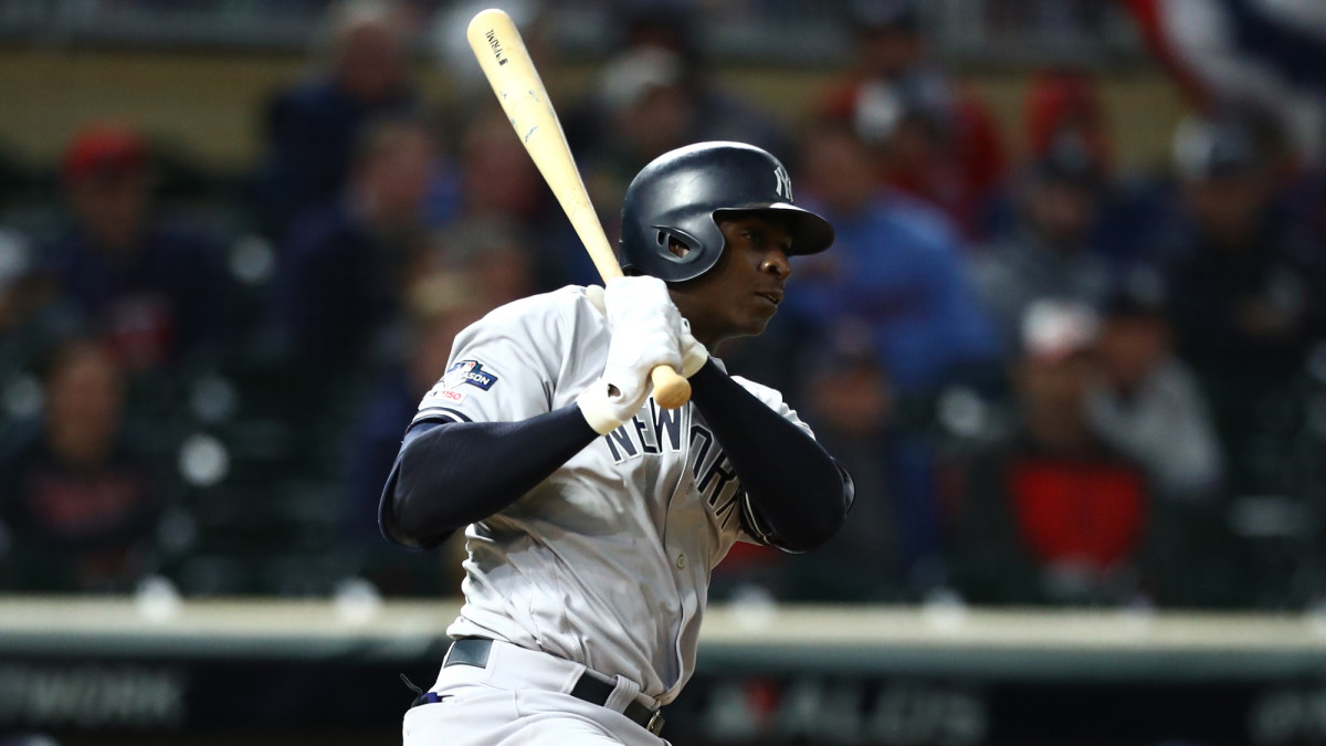 Didi Gregorious hits an RBI single during the ninth inning of game three of the 2019 ALDS playoff baseball series against the Minnesota Twins at Target Field.