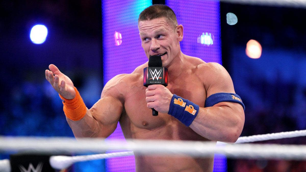 WWE's John Cena on the microphone in the ring