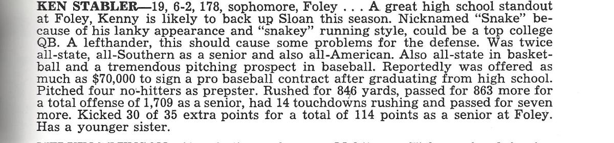 Stabler's write-up/bio from the 1965 Media Brochure.