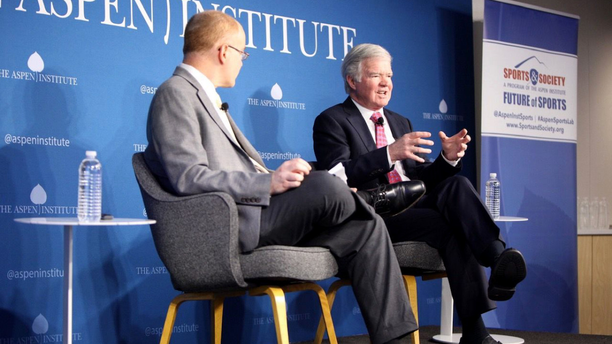 NCAA president Mark Emmert participates in a panel discussion at the Aspen Institute in DC on Tuesday. In the foreground is Jon Solomon, editorial director of the Aspen Institute's Sports and Society Program.