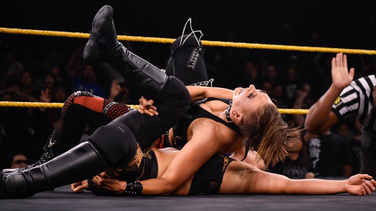 WWE's Rhea Ripley in an NXT Women's Championship match vs. Shayna Baszler