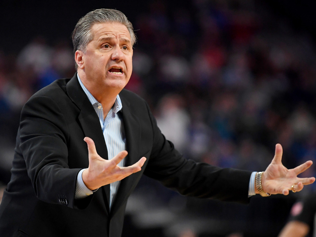 Dec 18, 2019; Las Vegas, NV, USA; Kentucky Wildcats head coach John Calipari reacts to a call during the second half against the Utah Utes at T-Mobile Arena. Mandatory Credit: Stephen R. Sylvanie-USA TODAY Sports