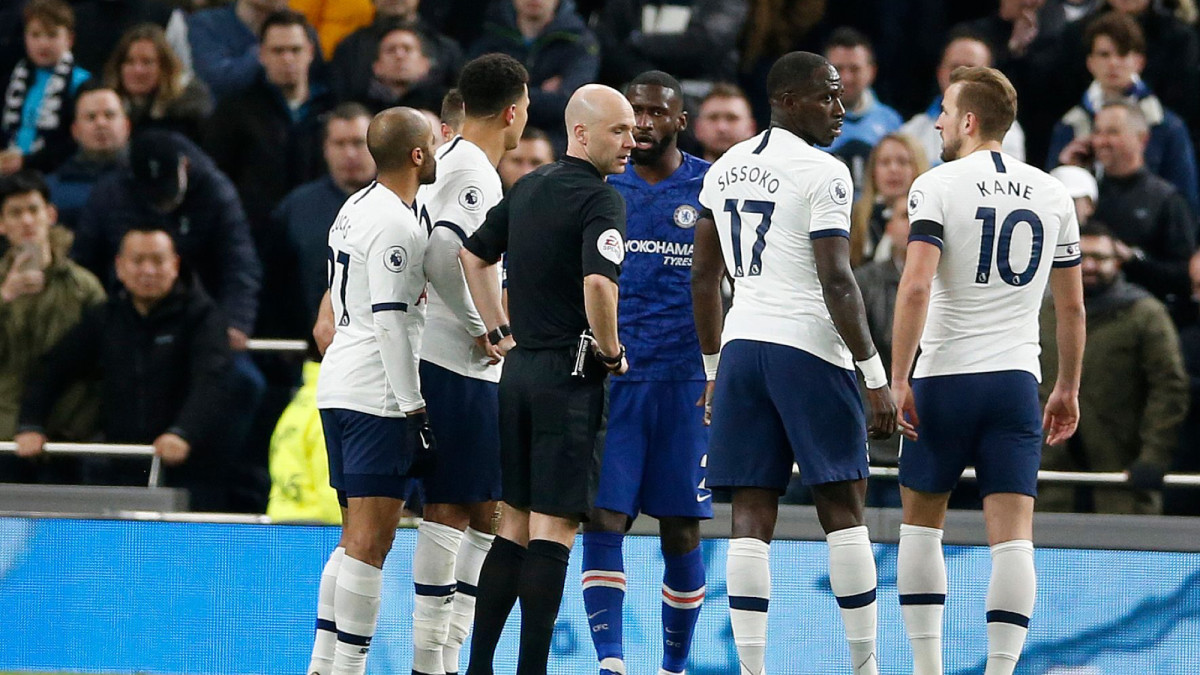 Referee Anthony Taylor stops the game in the 2nd half after a racist comment is made to Antonio Rudiger of Chelsea