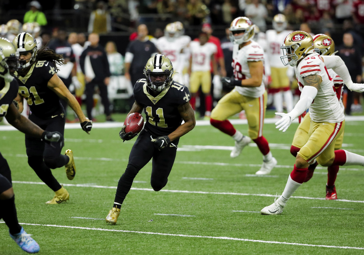 Dec 8, 2019; New Orleans, LA, USA; New Orleans Saints punt returner Deonte Harris (11) carries the ball during the first half against the San Francisco 49ersat the Mercedes-Benz Superdome. Mandatory Credit: Derick E. Hingle-USA TODAY Sports