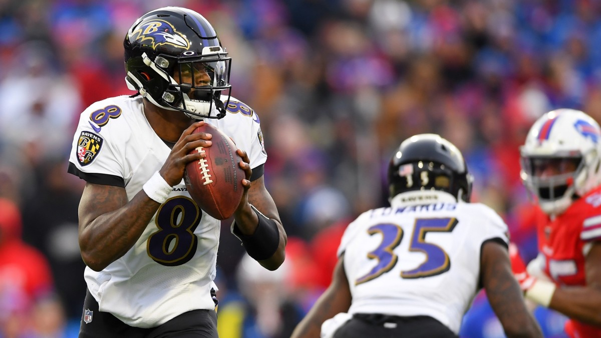 Lamar Jackson makes a pass attempt during a game against the Buffalo Bills.