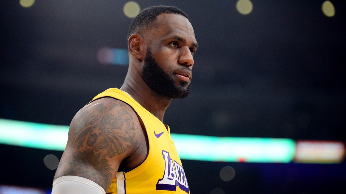 LeBron James on the court during Wednesday's Clippers vs. Lakers game.