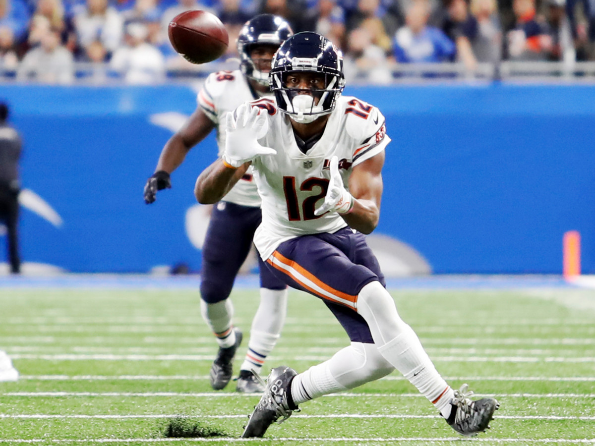 Nov 28, 2019; Detroit, MI, USA; Chicago Bears wide receiver Allen Robinson (12) attempts to catch a ball during the fourth quarter against the Detroit Lions at Ford Field. Mandatory Credit: Raj Mehta-USA TODAY Sports