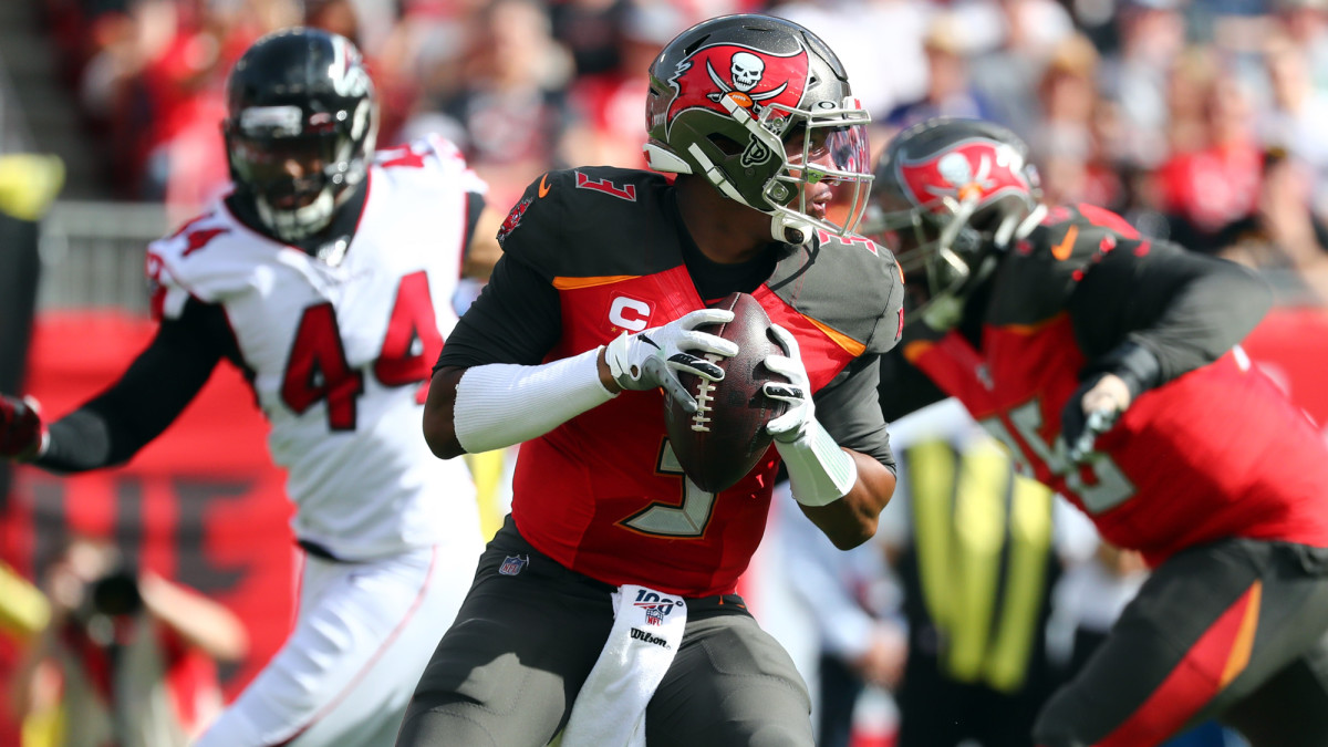 Tampa Bay Buccaneers quarterback Jameis Winston drops back against the Atlanta Falcons during the first quarter at Raymond James Stadium.