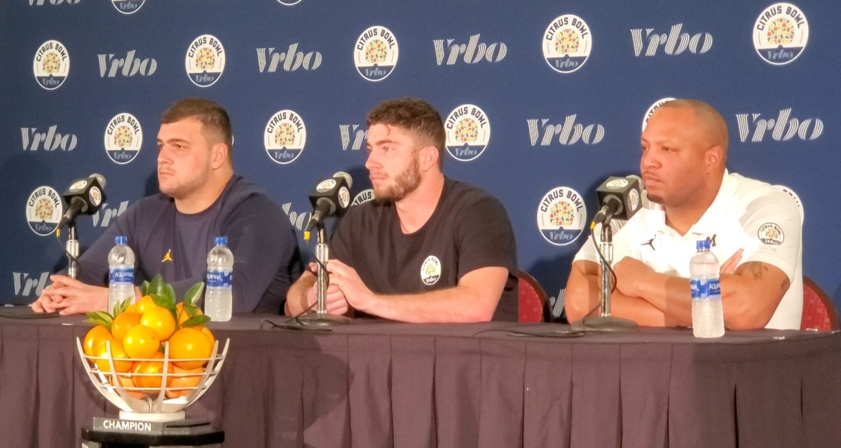 Offensive lineman Ben Bredeson, quarterback Shea Patterson and offensive coordinator Josh Gattis talk to the media ahead of the Citrus Bowl.
