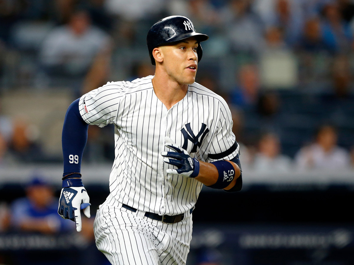 Sep 4, 2019; Bronx, NY, USA;  New York Yankees right fielder Aaron Judge (99) rounds the bases after hitting a home run in the third inning against the Texas Rangers at Yankee Stadium.