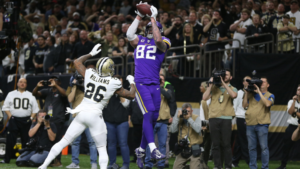 Vikings' Kyle Rudolph catches game-winning touchdown pass in overtime vs. Saints in NFL playoffs
