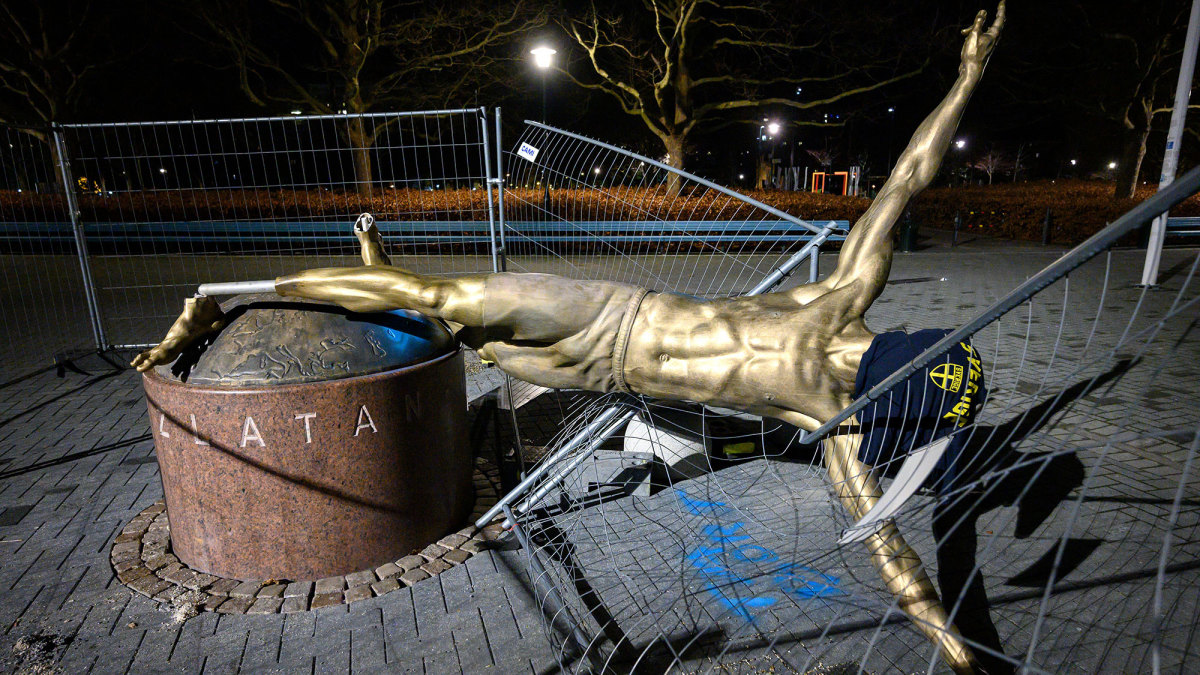 Zlatan Ibrahimovic's statue in Malmo has been vandalized repeatedly