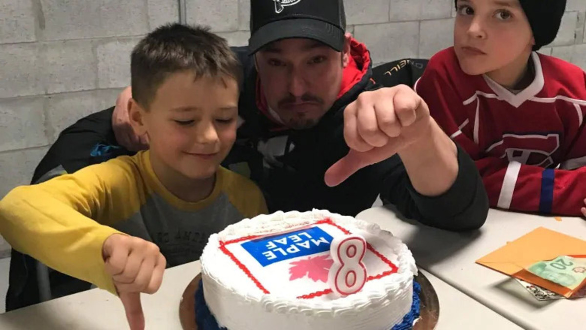 8-year-old Toronto Maple Leafs fan Jacob gets birthday cake with Maple Leaf Foods logo
