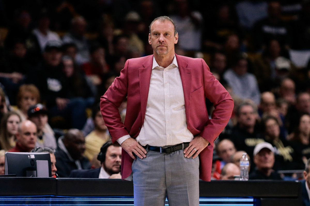Feb 2, 2018; Boulder, CO, USA; Utah Utes head coach Larry Krystkowiak in the second half against the Colorado Buffaloes at Coors Events Center.