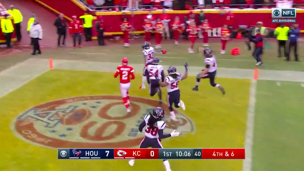 The Texans score on a blocked punt and then a recovery in the AFC Divisional Round.