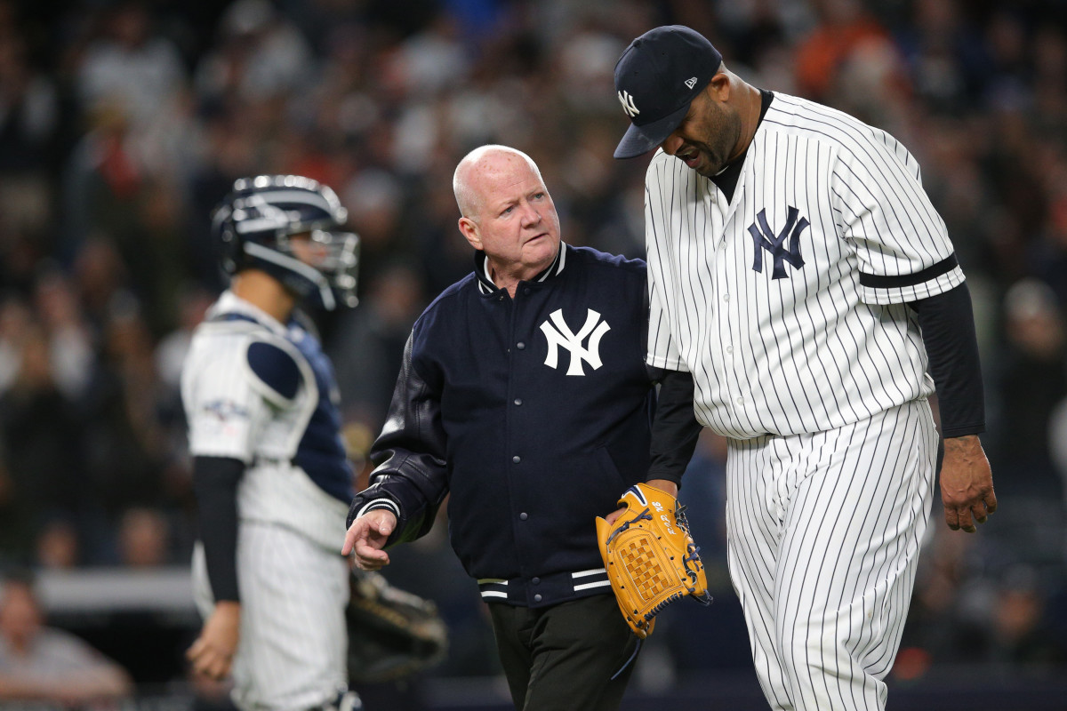 Steve Donohue Helps CC Sabathia Off the Mound in 2019 ALCS