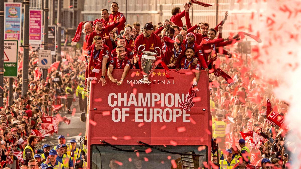 Liverpool celebrates its Champions League title