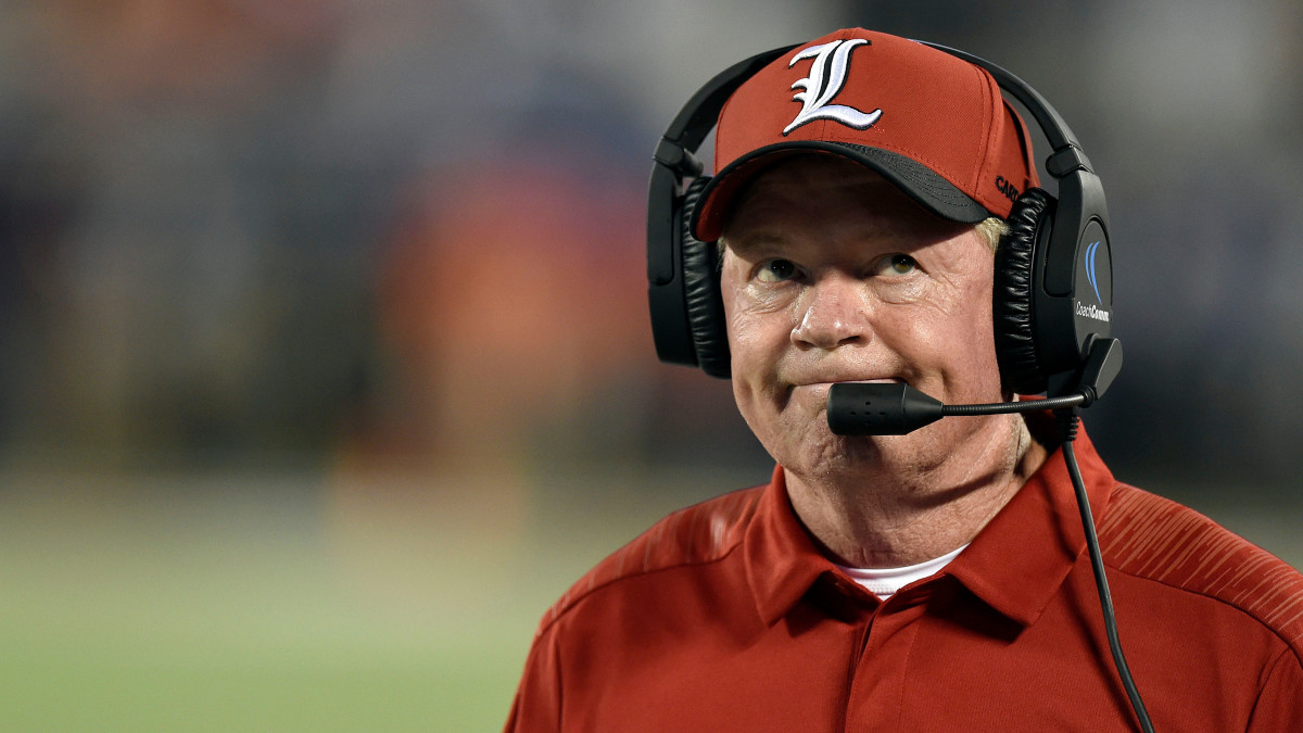 College football coach Bobby Petrino on the sideline