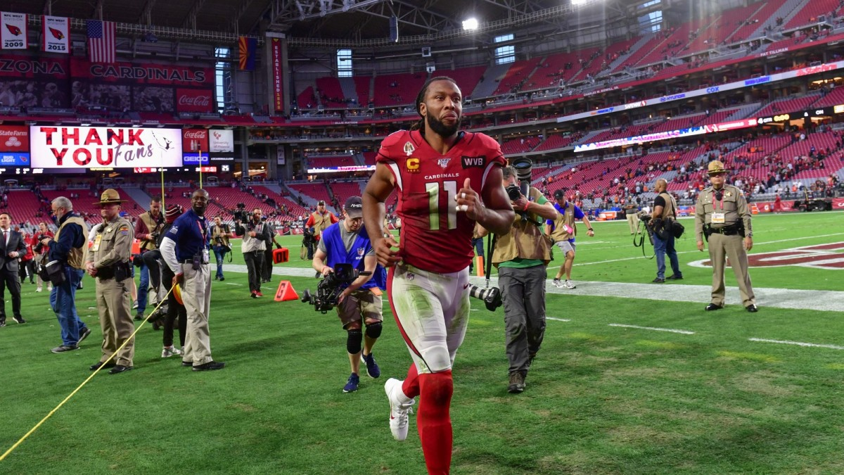 Arizona Cardinals wide receiver Larry Fitzgerald leaves the field after beating the Cleveland Browns at State Farm Stadium.