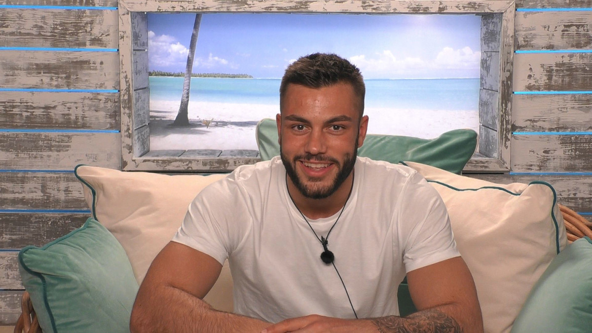"Oxford City FC soccer player Finn Tapp on the set of ""Love Island"""