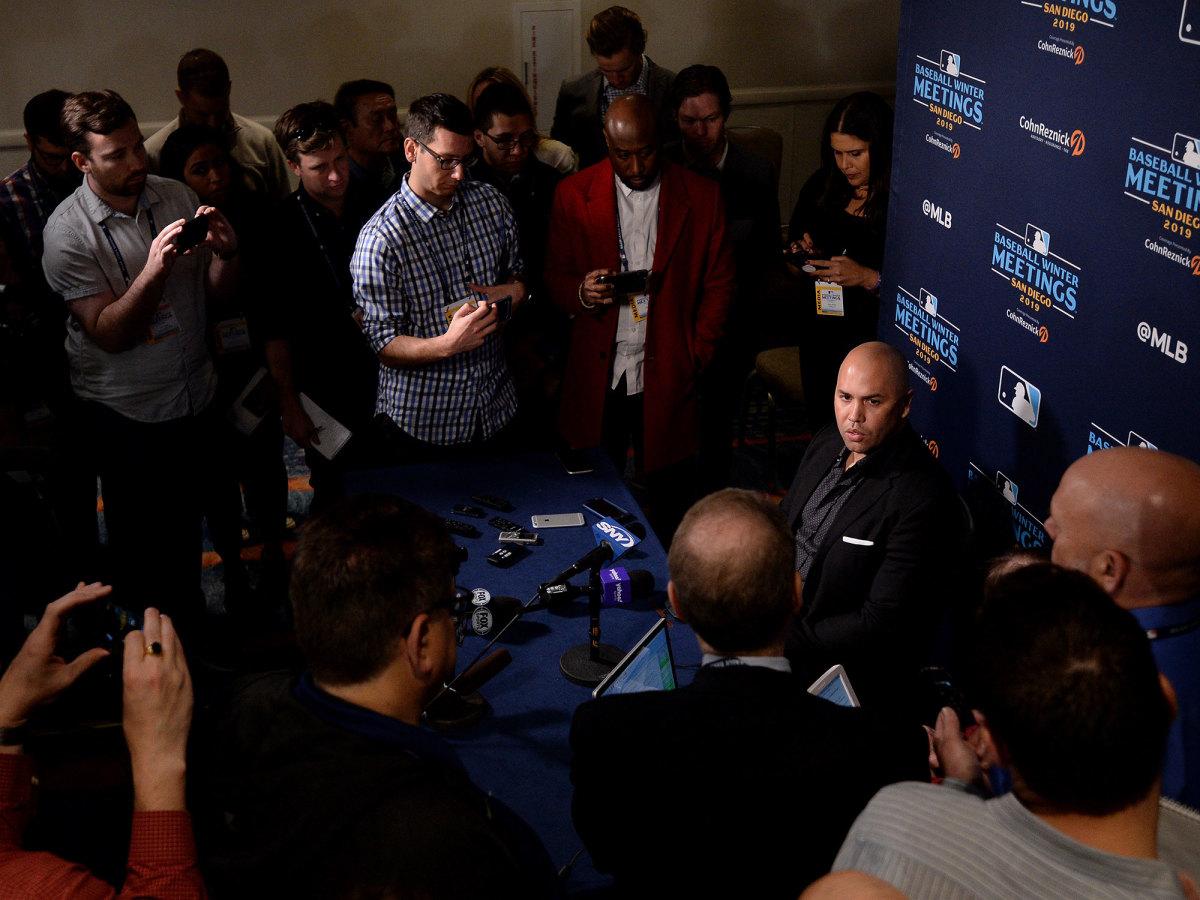 Carlos Beltran fielding questions from the media