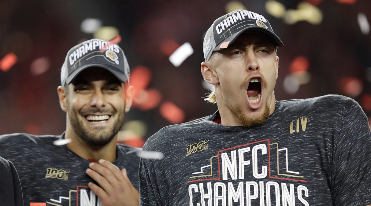 49ers TE George Kittle Wears T-Shirt Showing Shirtless Jimmy Garoppolo to Podium After Victory