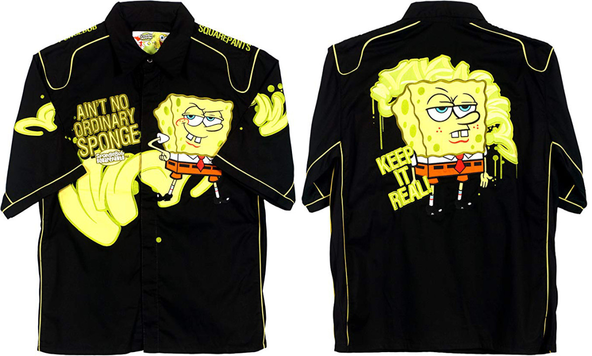 Front and back of NASCAR-style SpongeBob Squarepants shirt worn by Larry Walker
